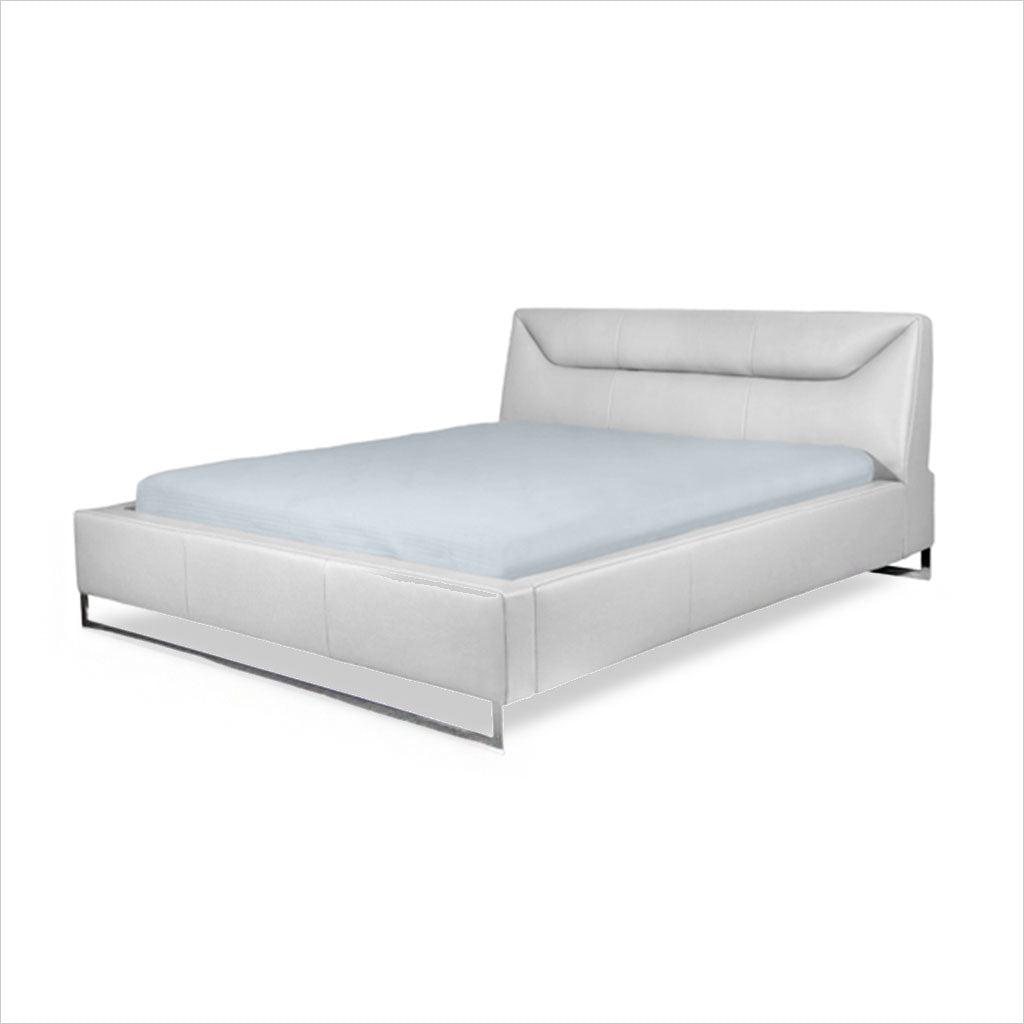 leather platform bed with metal legs