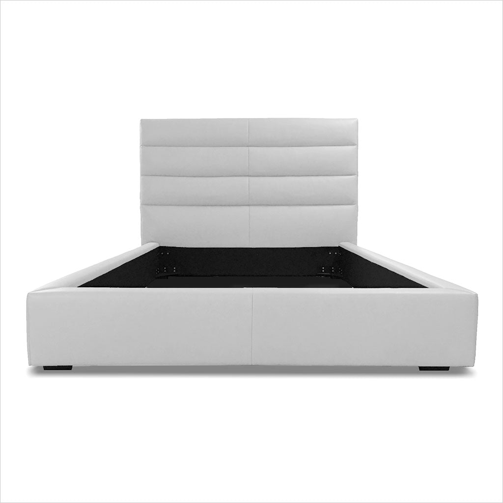 leather platform bed with tall headboard