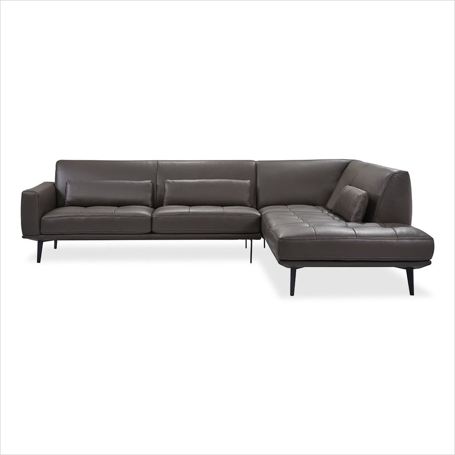 leather sectional sofa with lumbar pillows and metal legs