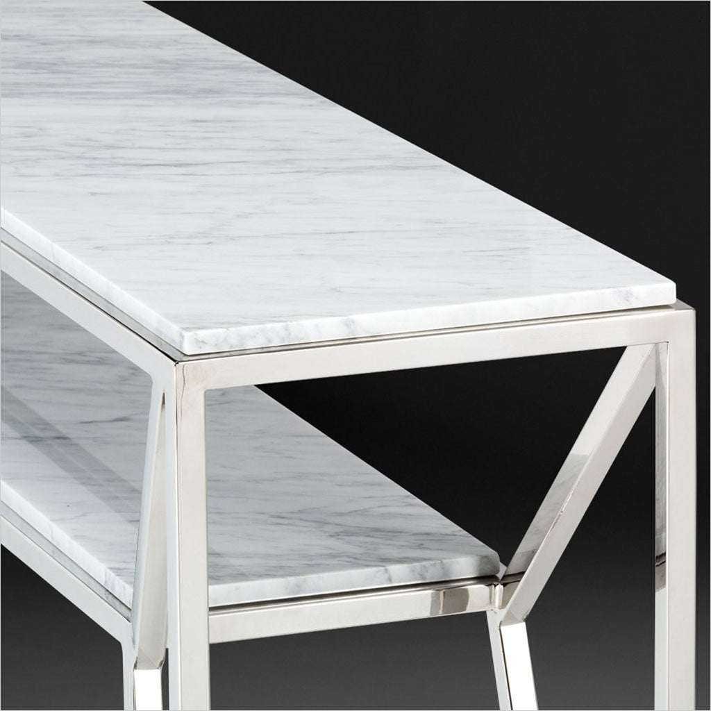 console table with marble top and metal base