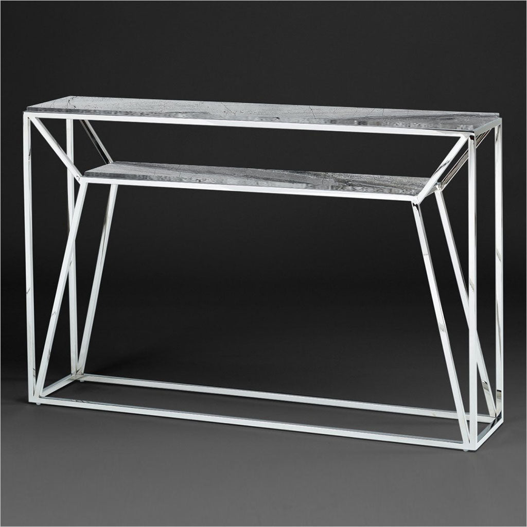 console table with stone top and metal base