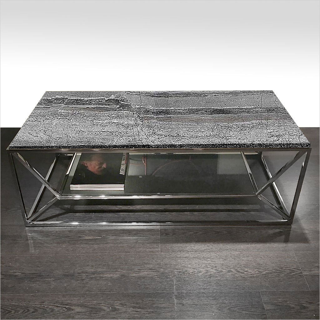 coffee table with stone top and metal base