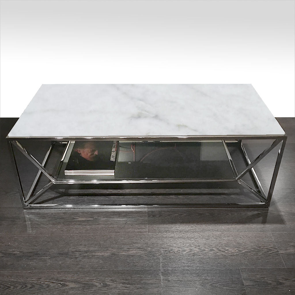 coffee table with marble top and metal base