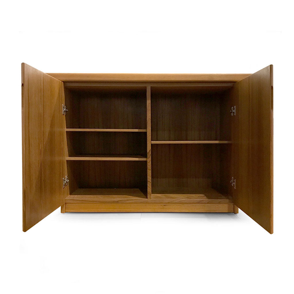 teak wood server with 2 doors