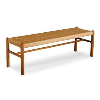 teak bench with rope seating