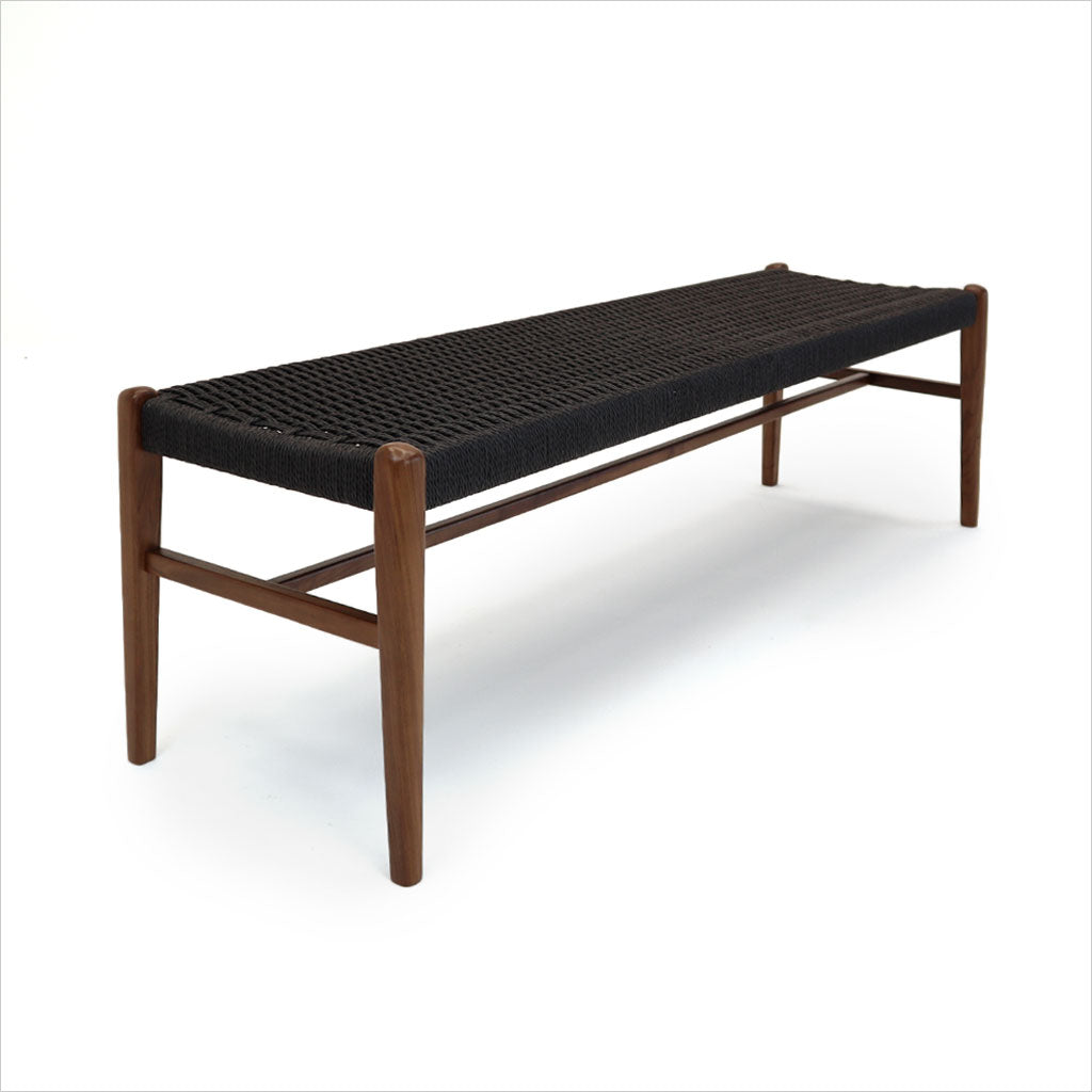 walnut wood bench with black rope seat