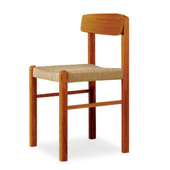 low back teak dining armchair with rope seat