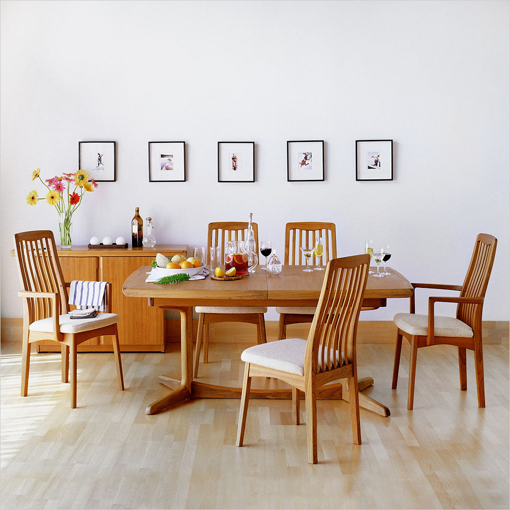 high back teak dining chair with light fabric seat