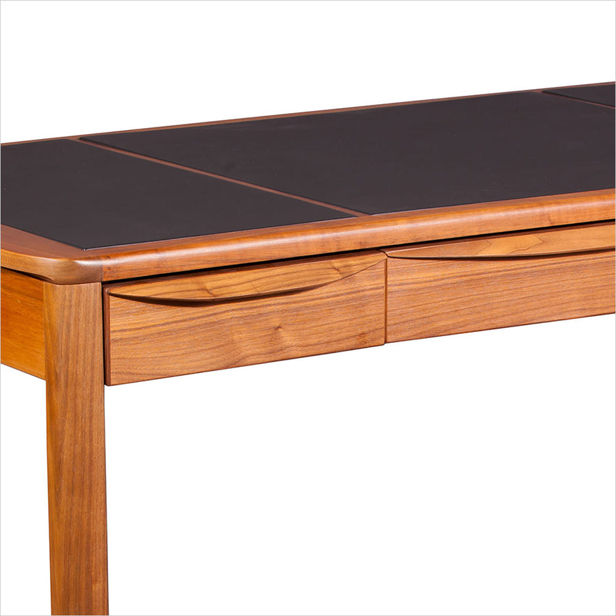 walnut desk with leather inlay