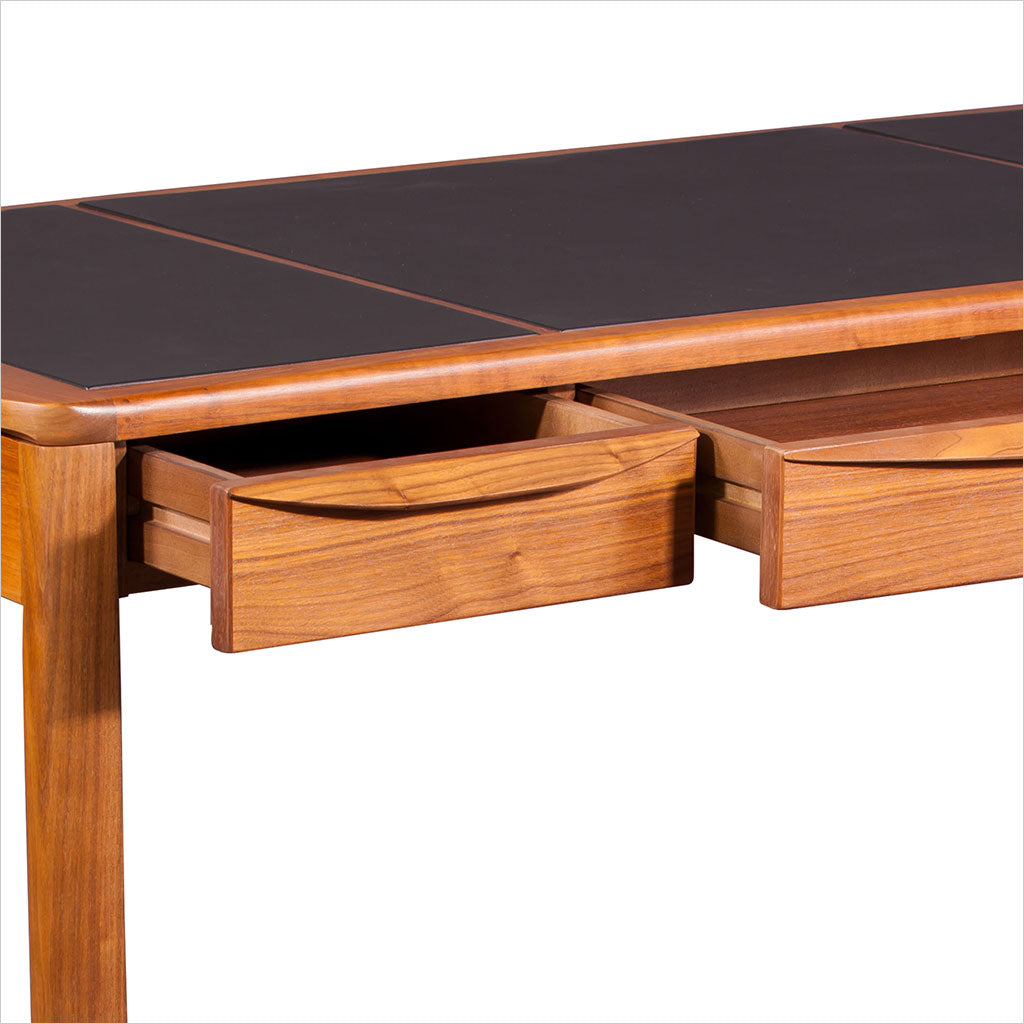 teak desk with leather inlay