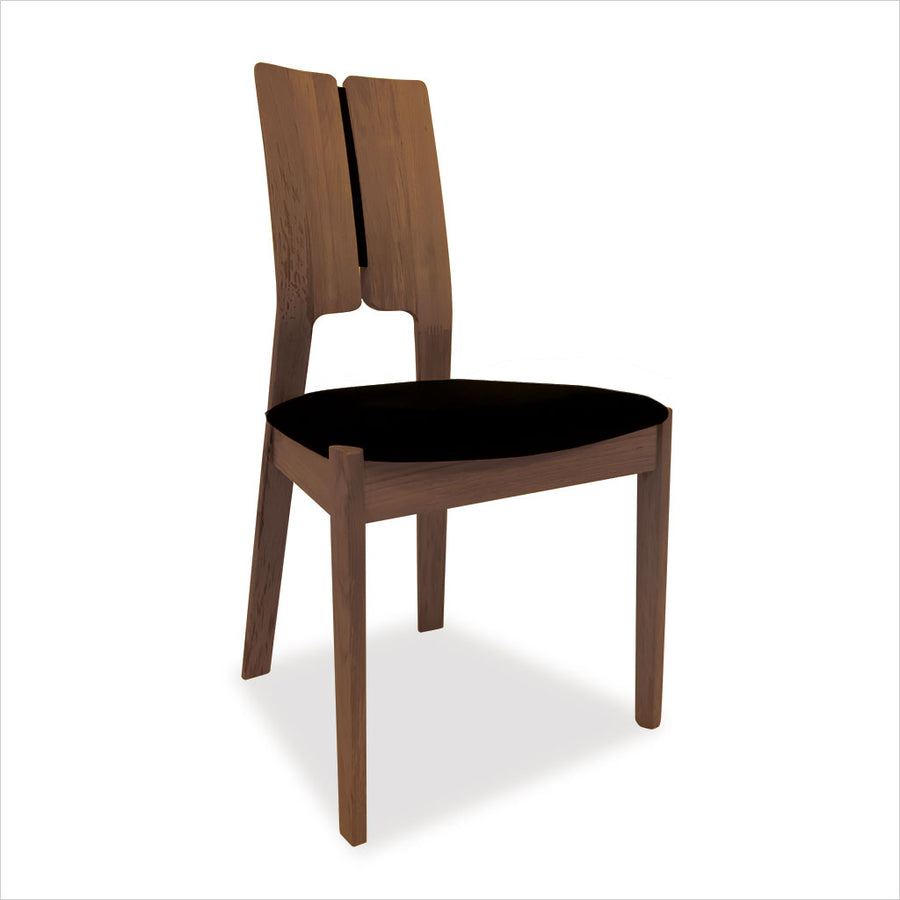 walnut dining chair with black fabric seat