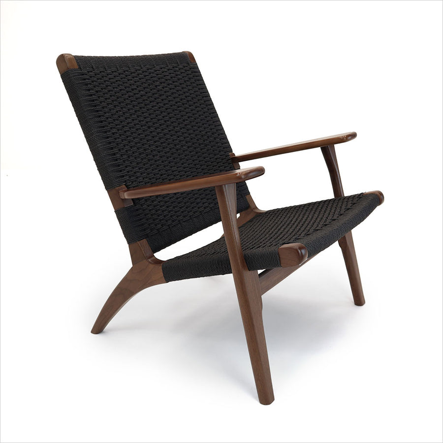 walnut lounge chair with rope seating