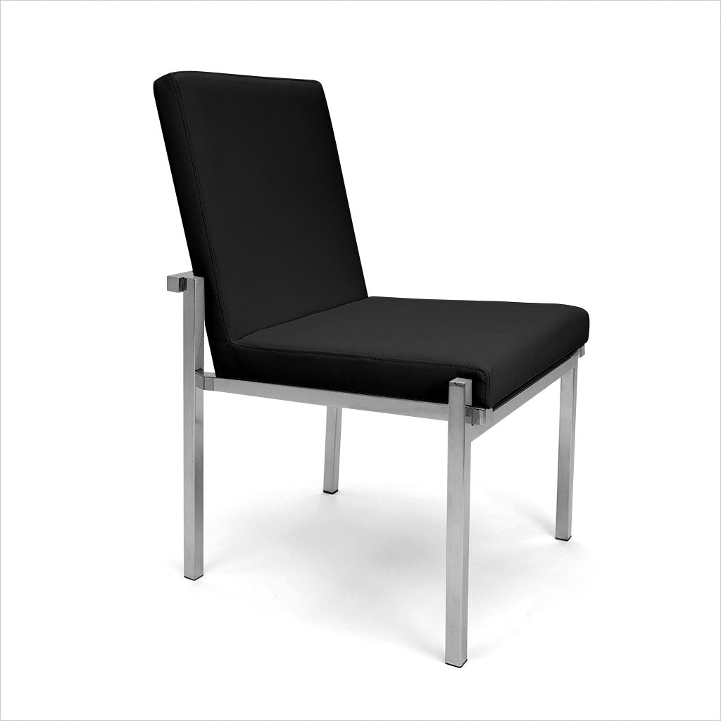black leather dining chair with metal legs