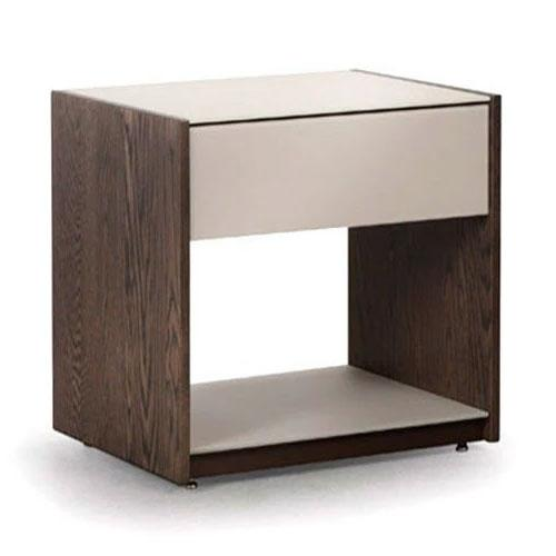 nightstand in brown with glass front and top
