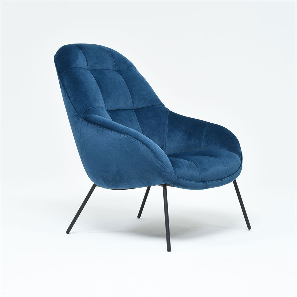 accent chair upholstered in blue fabric