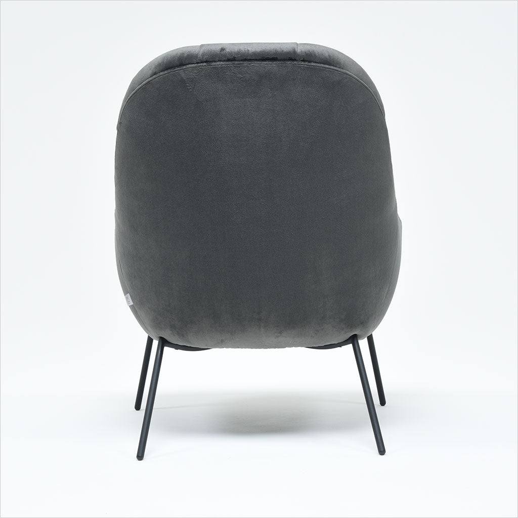 accent chair upholstered in grey fabric