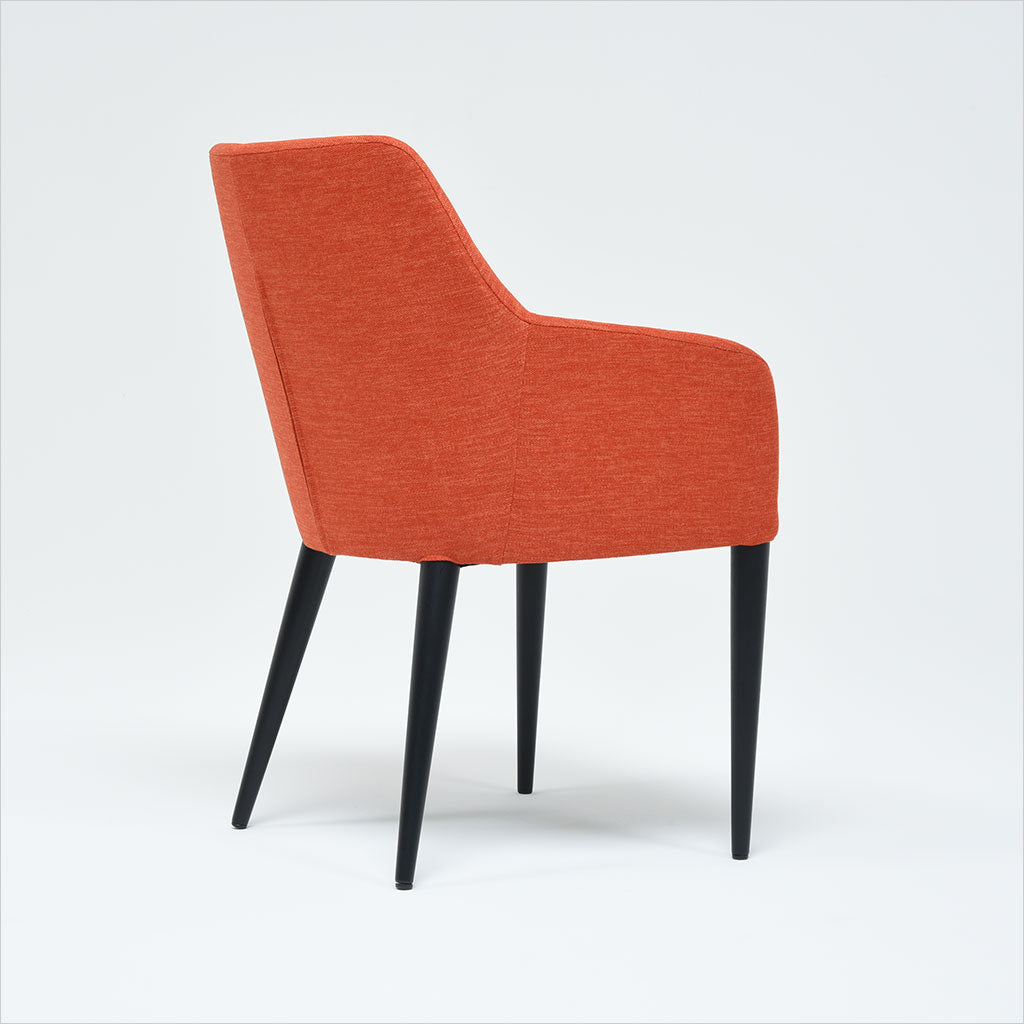 fabric dining chair with dark wood legs