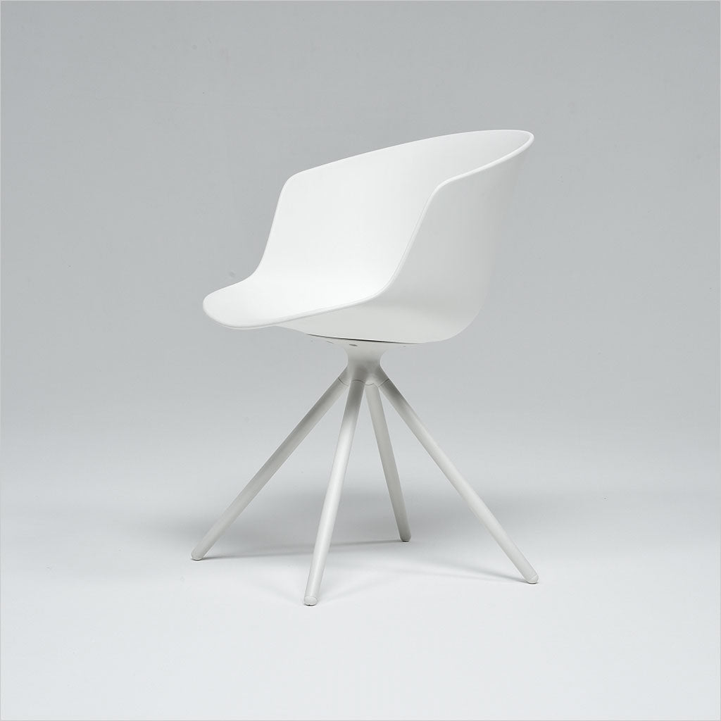 white dining chair with molded seat