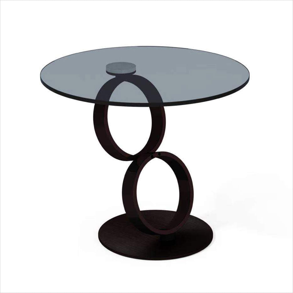 endtable with black glass and black base