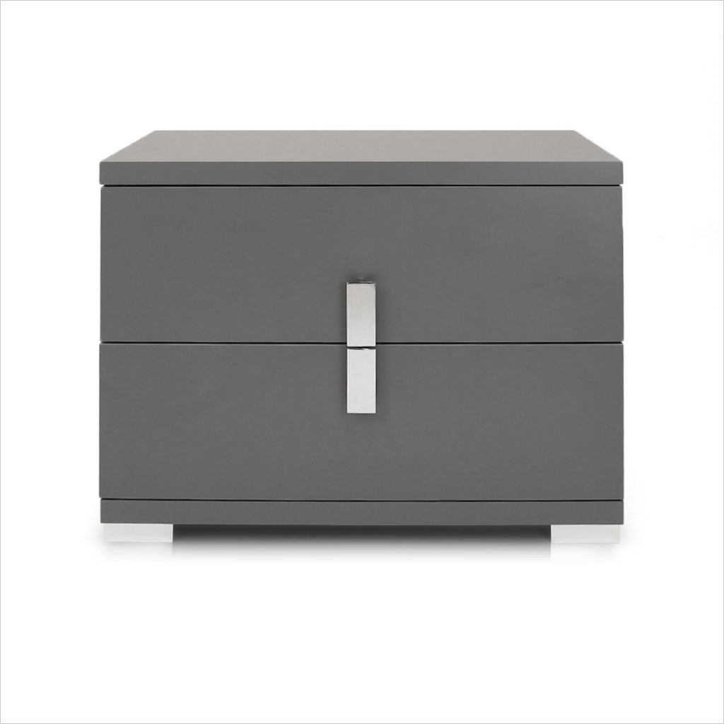 grey nightstand with 2 drawers