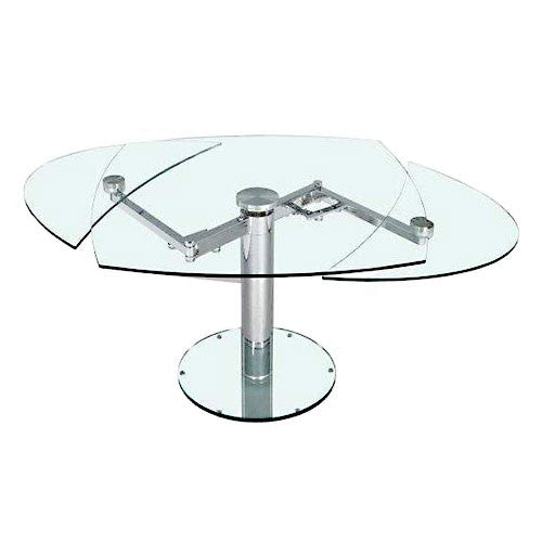 oval glass dining table with extension leaves
