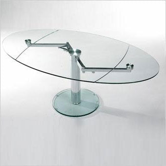 expandable oval dining table with glass top and pedestal base