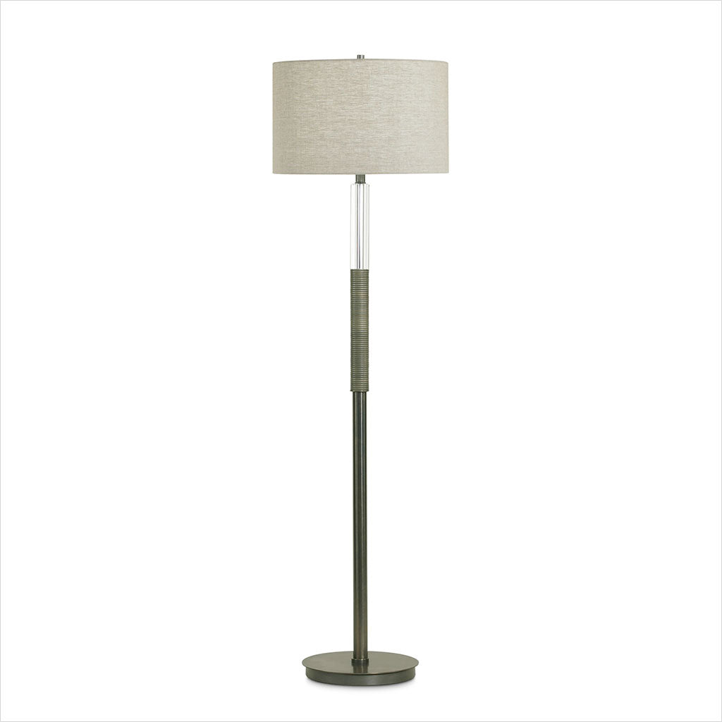 floor lamp with beige linen shade