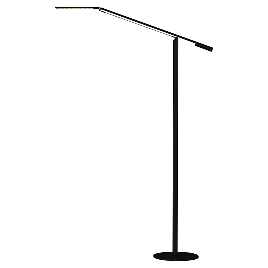 black metallic floor lamp