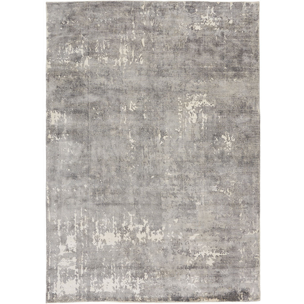 grey loom-knotted area rug