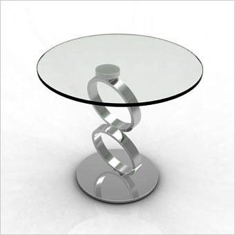 round glass and metal accent table