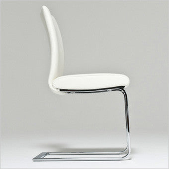 leather dining chair with cantilever base