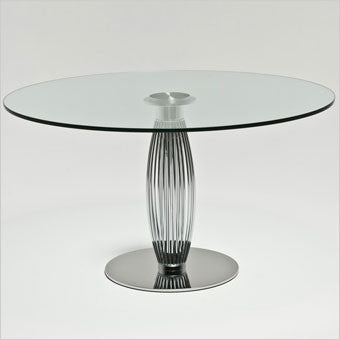 round dining table with chrome finished pedestal base