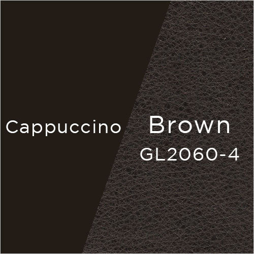 cappuccino powder-coat metal and brown leather swatch