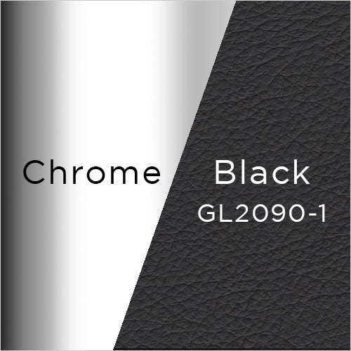 chrome metal and black leather swatch