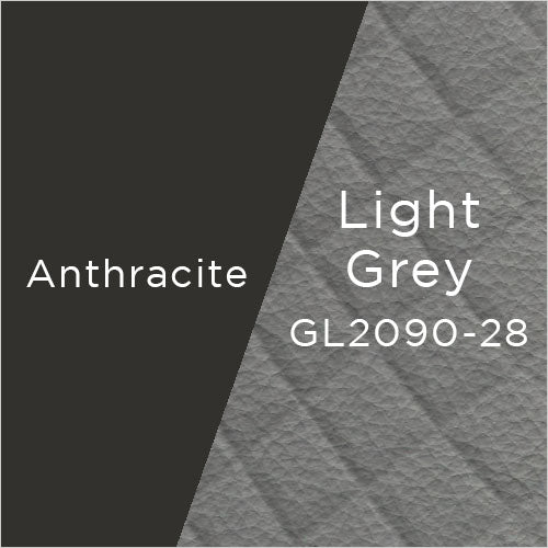 anthracite powder-coat metal and light grey leather swatch