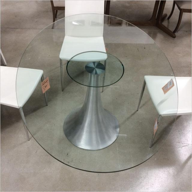 oval glass top dining table with metal pedestal base