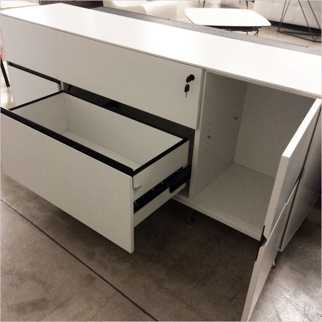 white credenza with metal legs
