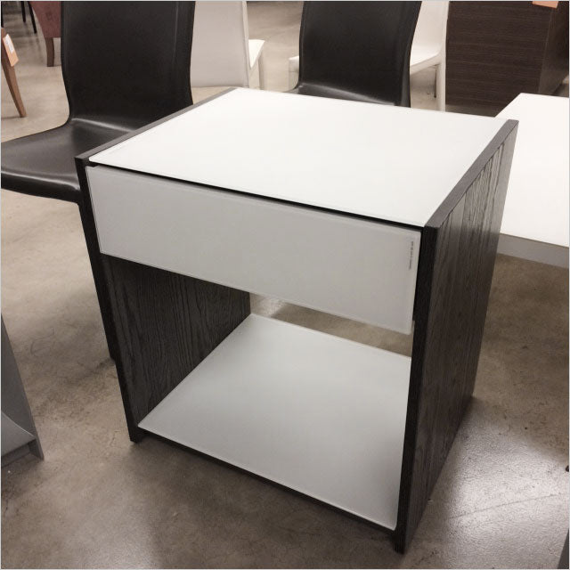 nightstand in grey with glass front and top
