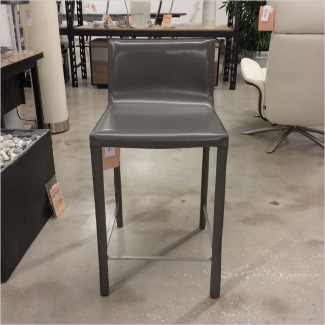 grey leather counter stool
