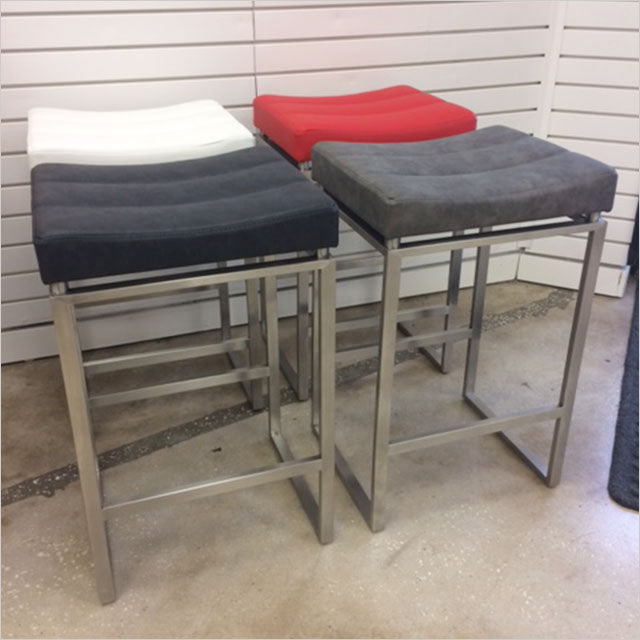 counter stool with upholstered seat and metal base