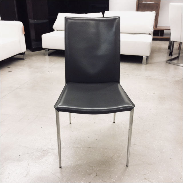 leather dining chair with metal legs