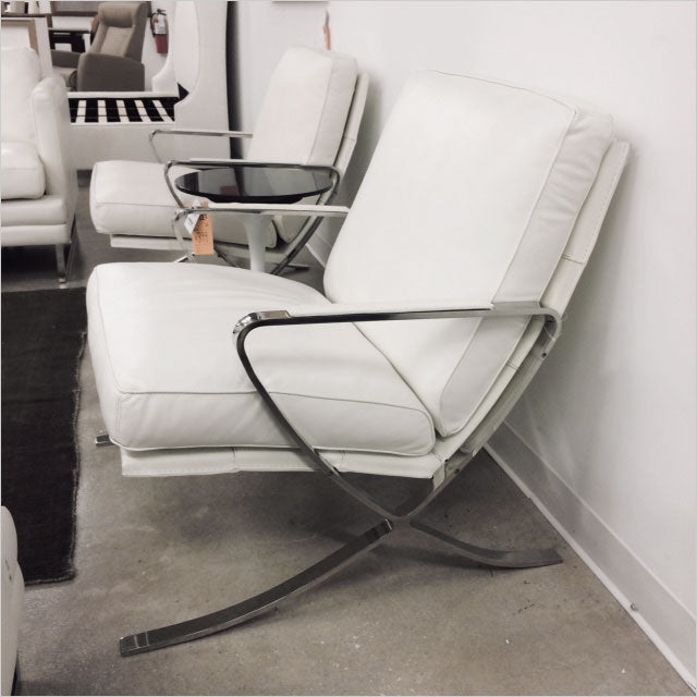 leather accent chair with metal frame