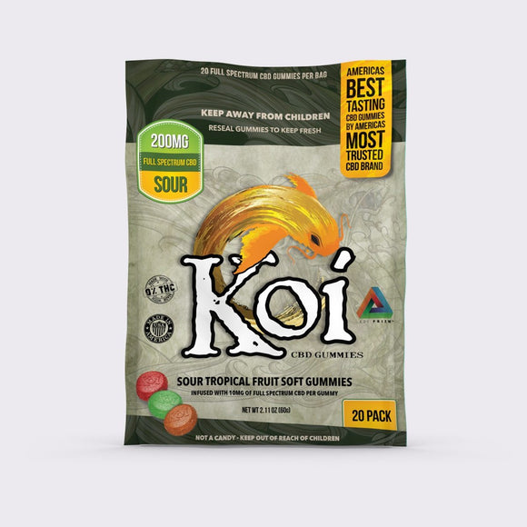koi CBD Gummies Sour Tropical Fruit Soft Gummies 200mg 20pcs