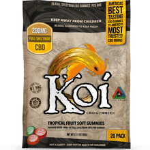 Load image into Gallery viewer, Koi CBD Gummies Tropical Fruit Gummies 200mg 20pcs