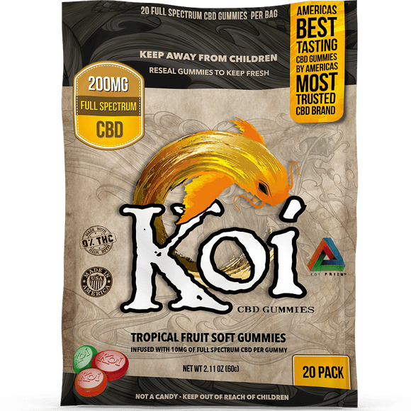 Koi CBD Gummies Tropical Fruit Gummies 200mg 20pcs