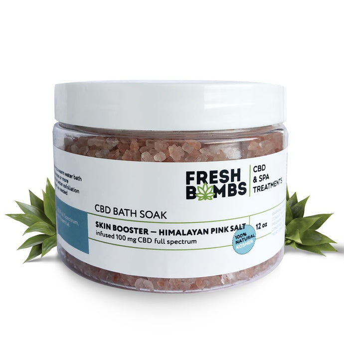 Fresh Bombs CBD Bath Soak 100mg CBD Skin Booster Himalayan Pink Salt 12oz