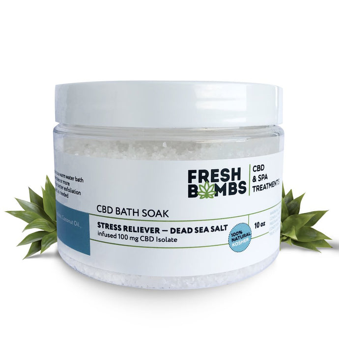 Fresh bombs CBD Bath Soak 100mg Stress Reliever Dead Sea Salt 10oz