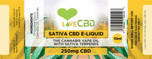Load image into Gallery viewer, Love CBD E liquid: Sativa 250mg