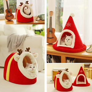 Christmas Tree & Elk Pet House, Semi Closed Soft Kitty House, Warm Bed for Winter, Cozy Shelter House
