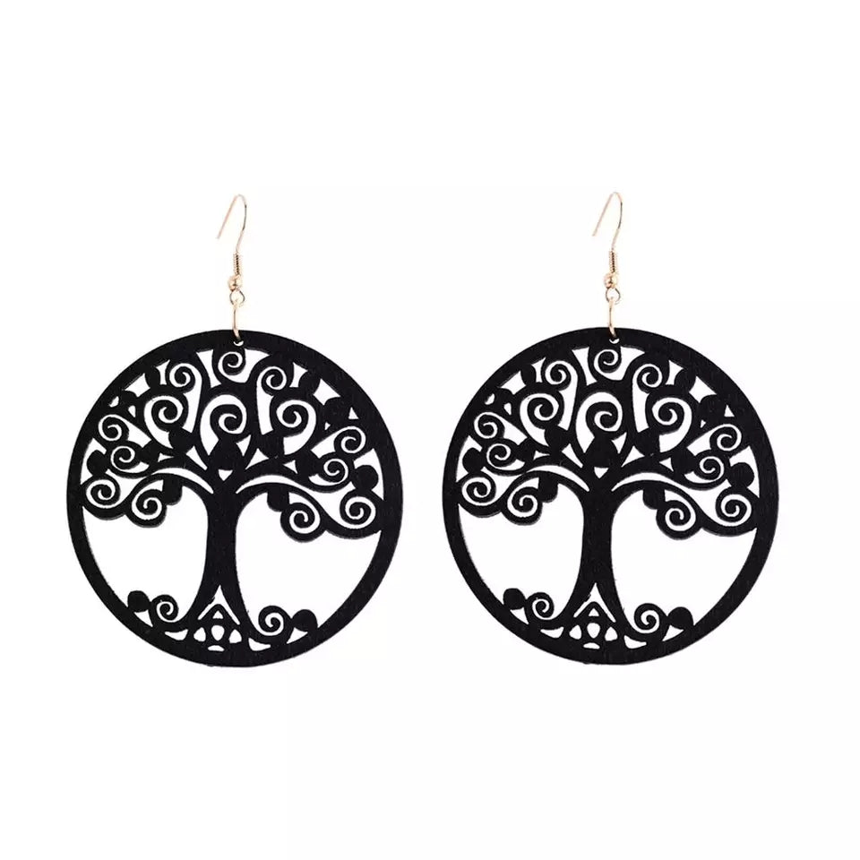 Wooden Earrings - Tree of Life - Black